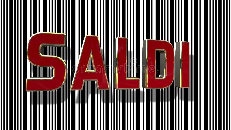 与条形码摘要线背景的意大利销售3D 向量例证