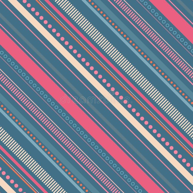 与条纹和小点的无缝的对角样式 向量例证