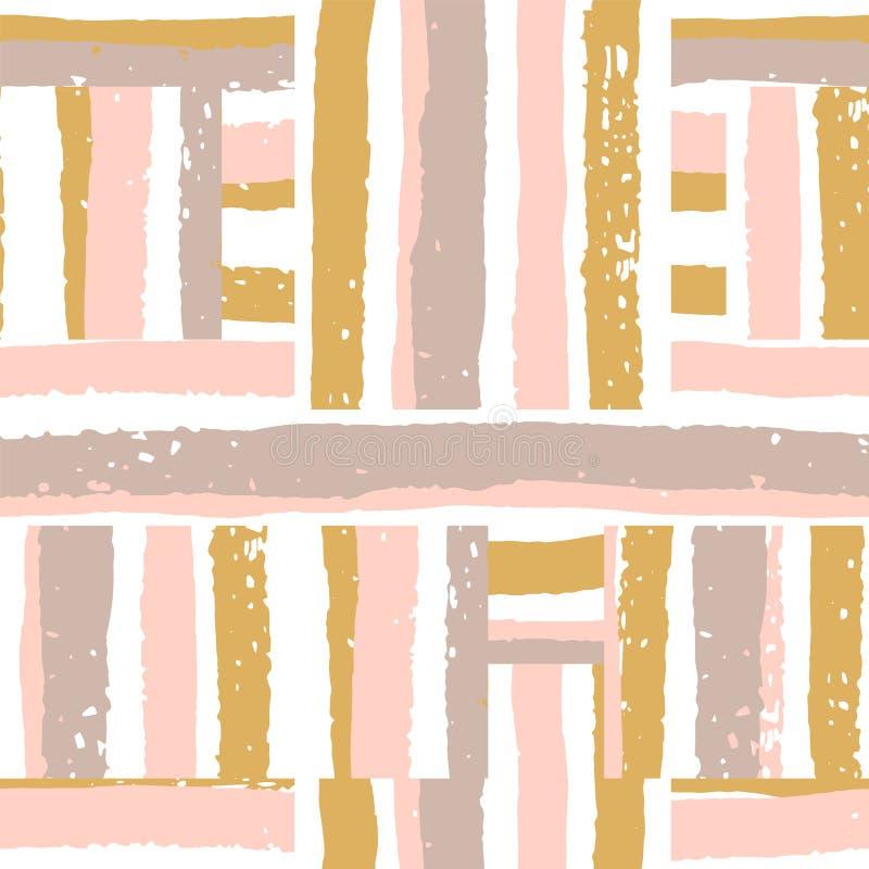 与条纹的抽象几何无缝的样式 库存例证
