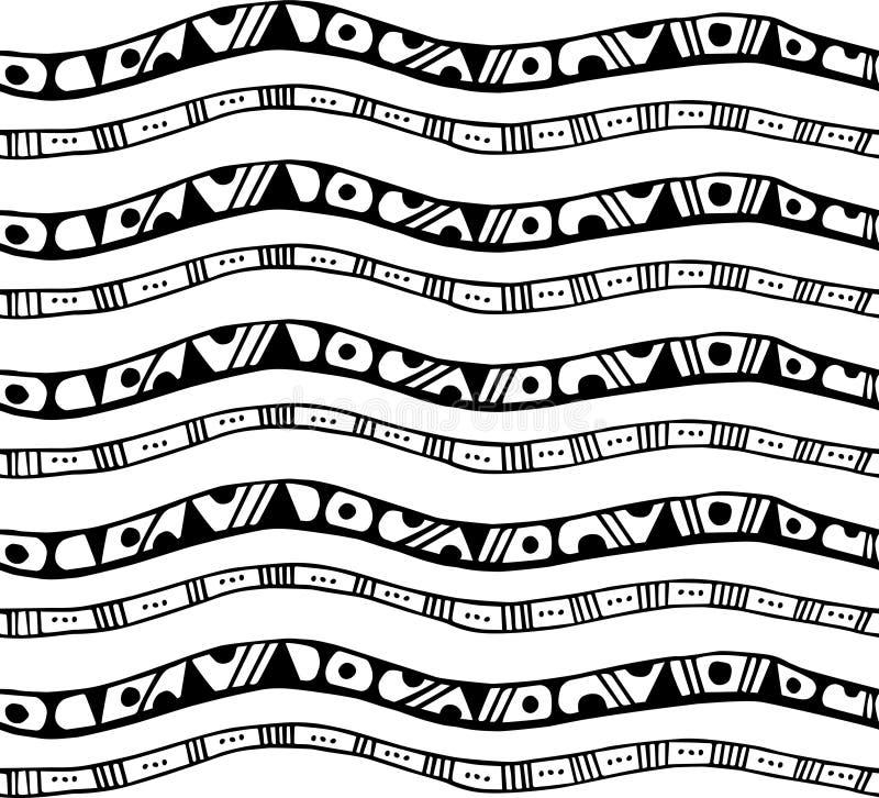 与条纹的无缝的样式在乱画样式 库存例证