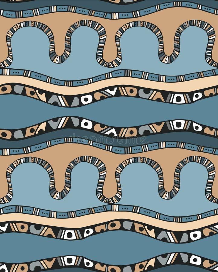 与条纹的无缝的样式在乱画样式 向量例证