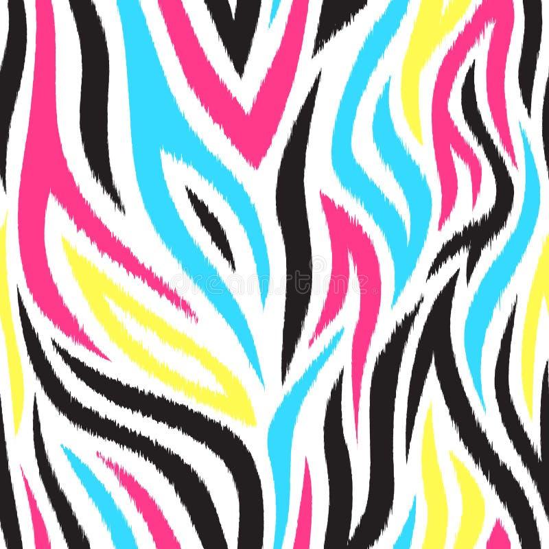 与条纹的明亮和五颜六色的无缝的样式 Boho样式 库存例证