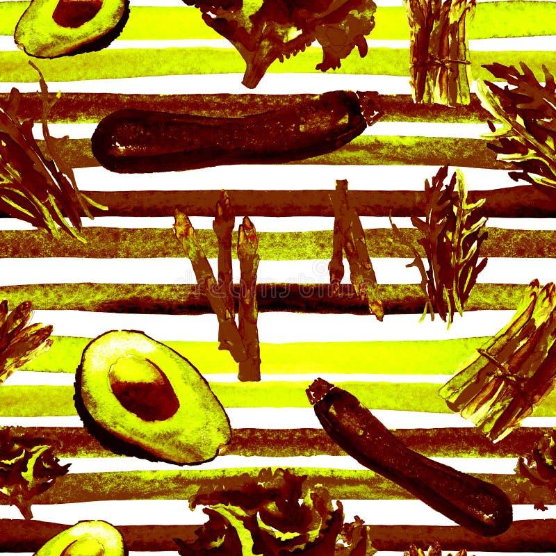 与条纹的菜无缝的样式 反复性的样式用健康食物 库存例证