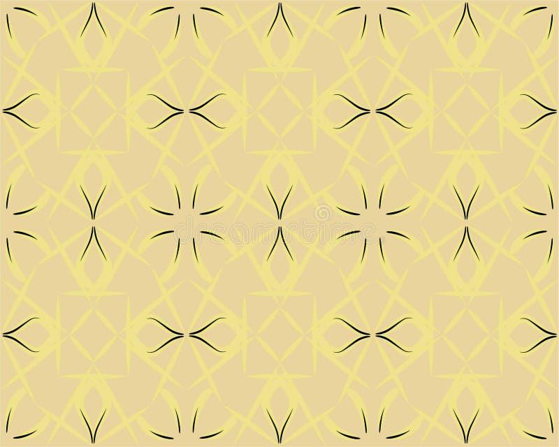 与条纹,线的抽象几何样式 背景无缝的向量 装饰品空白黄色 简单的格子图表 库存例证