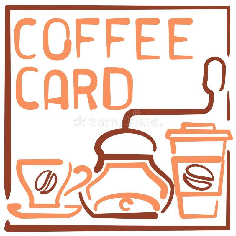 与杯子、咖啡碾、纸杯和字法的咖啡卡片 皇族释放例证