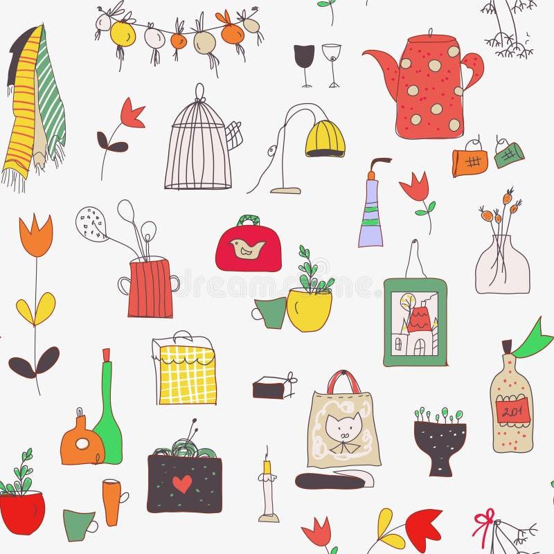 与杯子、板材、食物、器物、花和图片的厨房集合无缝的样式 也corel凹道例证向量 向量例证