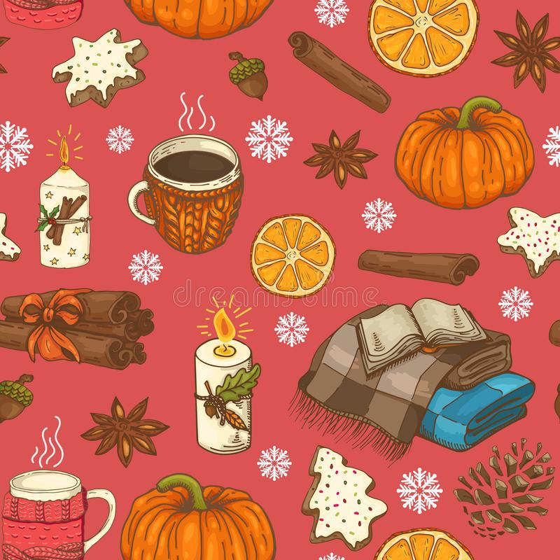 与杯子、柑橘、雪花和格子花呢披肩的无缝的圣诞节样式 皇族释放例证