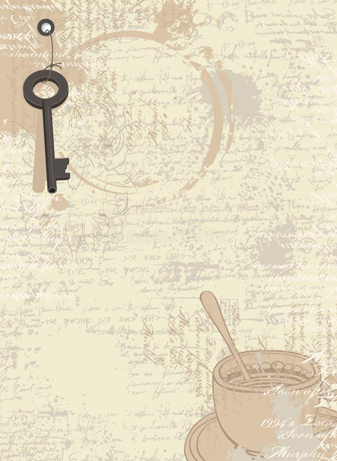 与杯子和钥匙的抽象咖啡背景 向量例证