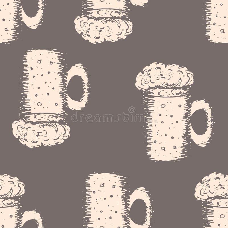 与杯子的无缝的样式在棕色背景的啤酒 库存例证