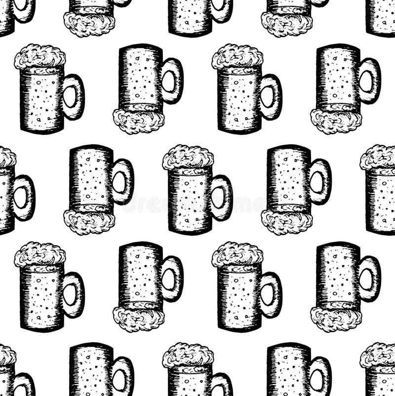 与杯子的无缝的样式在白色背景的啤酒 皇族释放例证