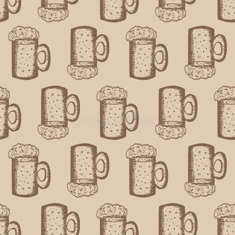 与杯子的无缝的样式在米黄背景的啤酒 皇族释放例证