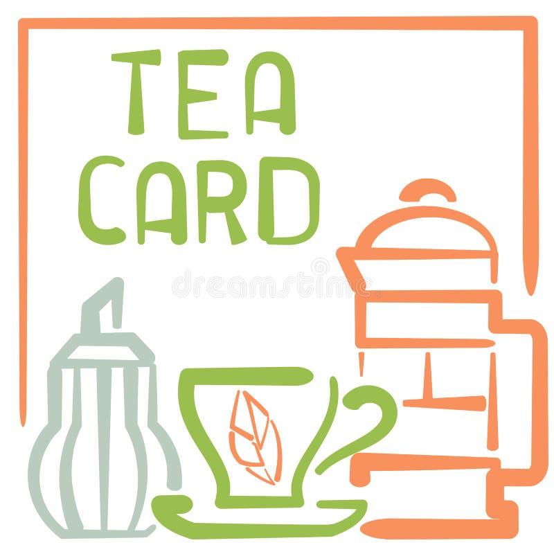 与杯子,糖罐,法语的茶卡片按和字法 皇族释放例证