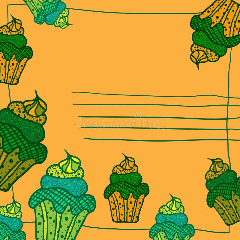 与杯形蛋糕平的样式的节日晚会文本的卡片和地方 也corel凹道例证向量 向量例证