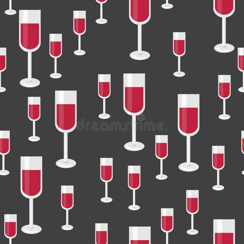 与杯的无缝的样式红葡萄酒 传染媒介背景为 库存例证