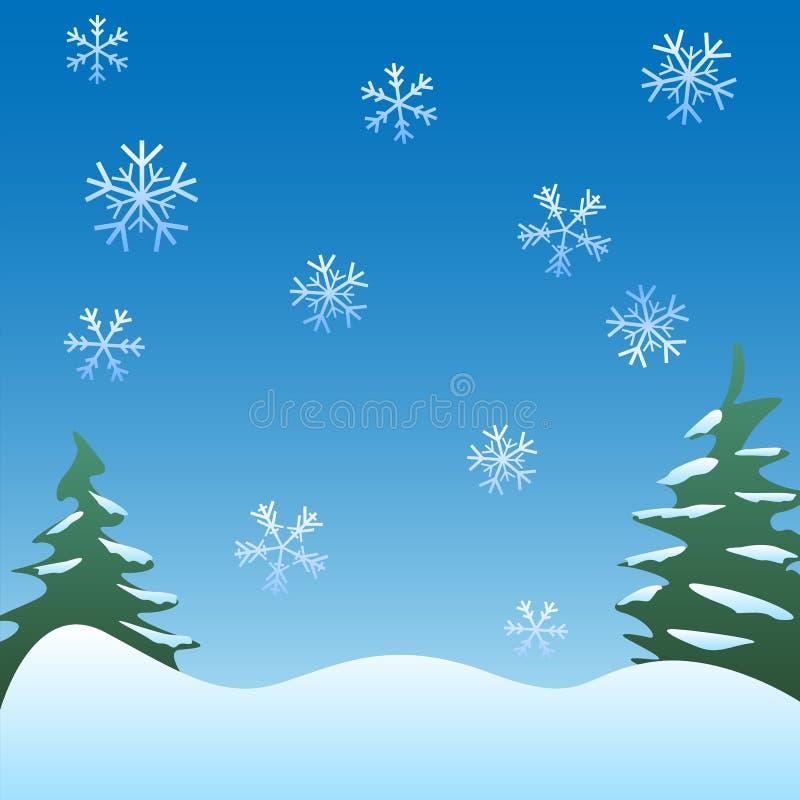 与松树、柔和的雪花和软的绵延山传染媒介例证的平安的冬天场面背景 向量例证