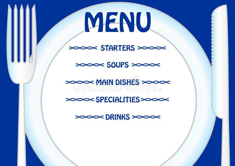 与板材、刀子和叉子的菜单模板 直接地给板材写您自己的菜单项目 库存例证