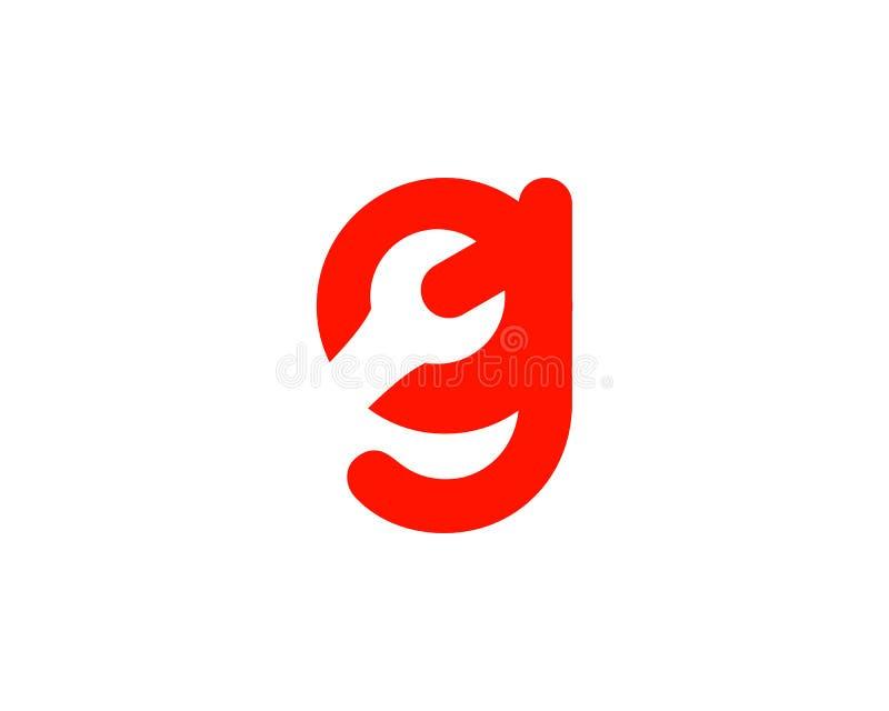 与板钳商标,工业,修理、工具、服务和维护商标的信件G公司本体的 向量例证
