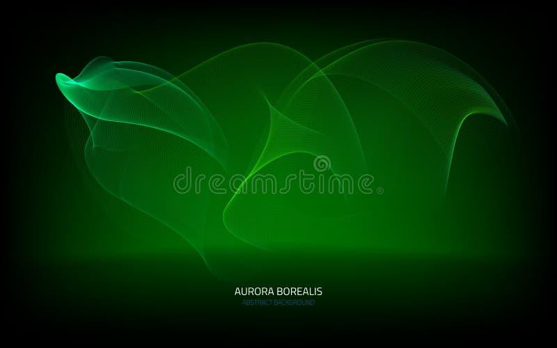 与极光borealis的抽象背景 库存例证