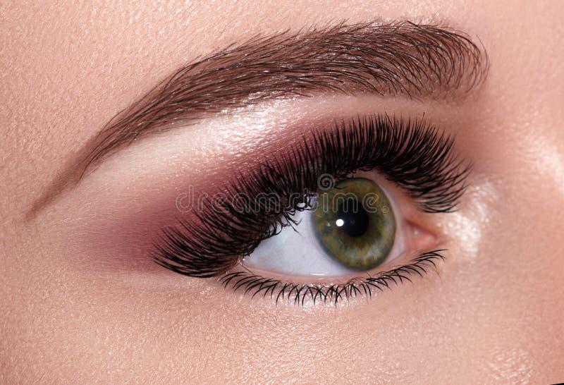 与极端长的睫毛的美丽的宏观女性眼睛和庆祝构成 完善的形状眉头,时尚鞭子 免版税库存照片