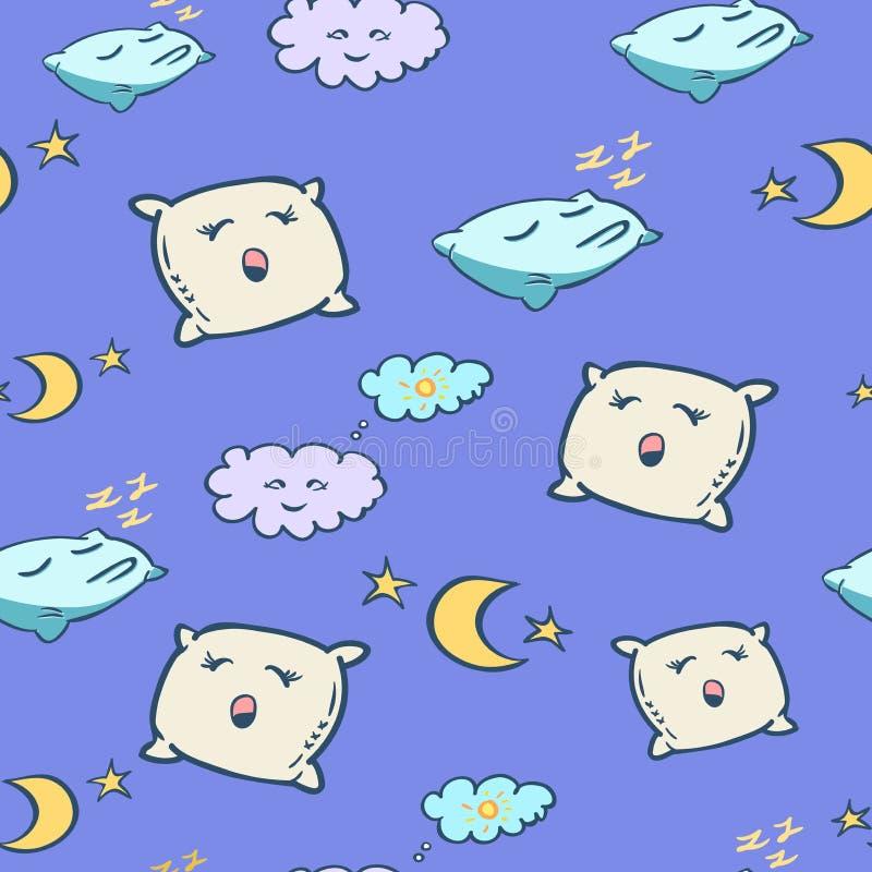 与枕头和月亮的无缝的样式 床时间背景 孩子贴墙纸 库存照片
