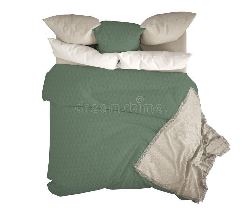 与枕头,顶视图的斯堪的纳维亚经典现代双人床,隔绝在白色背景,白色和绿色内部 皇族释放例证