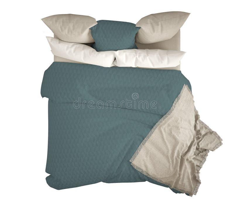 与枕头,顶视图的斯堪的纳维亚经典现代双人床,隔绝在白色背景,白色和蓝色内部 向量例证