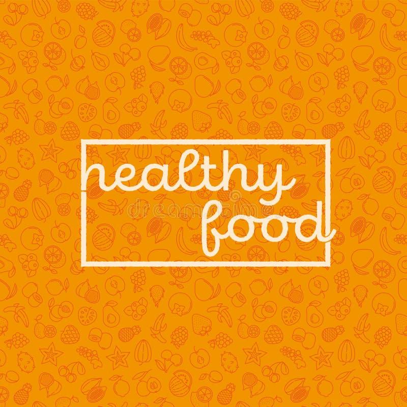 与果子象传染媒介illsutartion的健康吃海报 向量例证