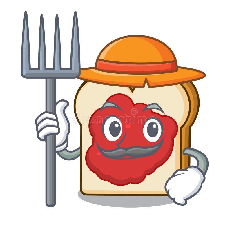 与果酱字符动画片的农夫面包 库存例证