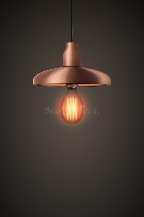 与枝形吊灯的装饰爱迪生电灯泡 向量例证