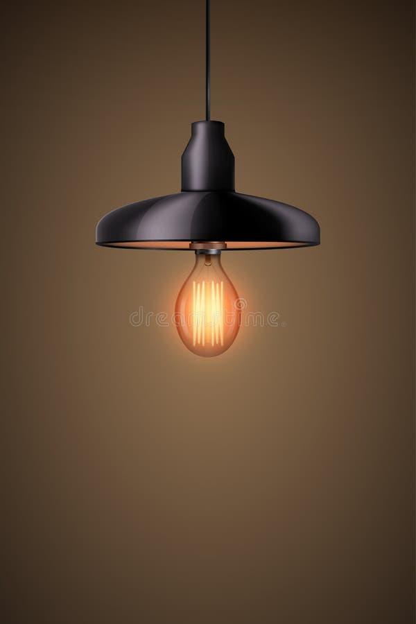 与枝形吊灯的装饰爱迪生电灯泡 库存例证