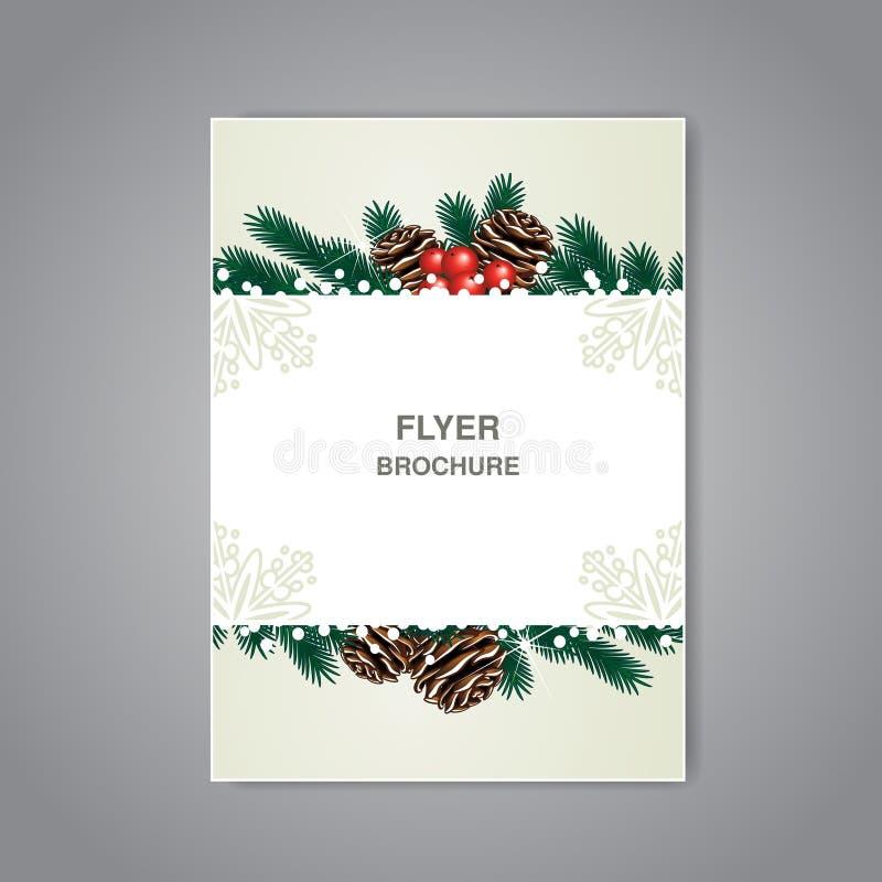 与枝杈、锥体和雪、米黄飞行物或者书设计,海报,布局模板,圣诞卡,新年卡片的圣诞节小册子 向量例证