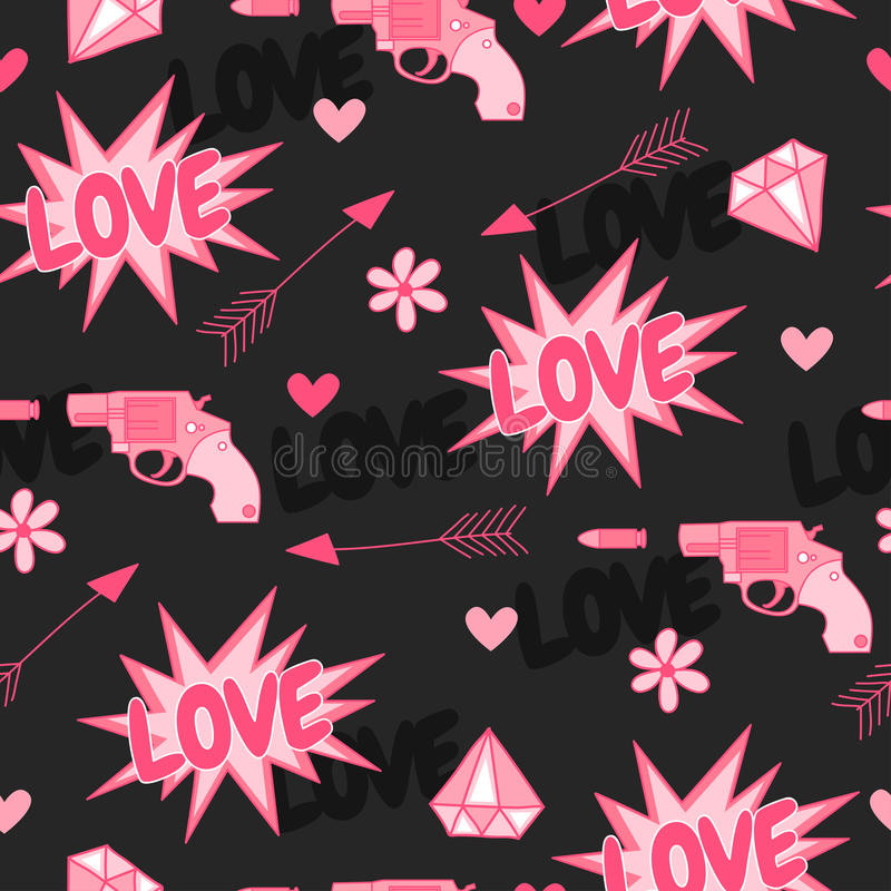 与枪、爱、箭头、心脏和花的原始的无缝的样式 库存例证
