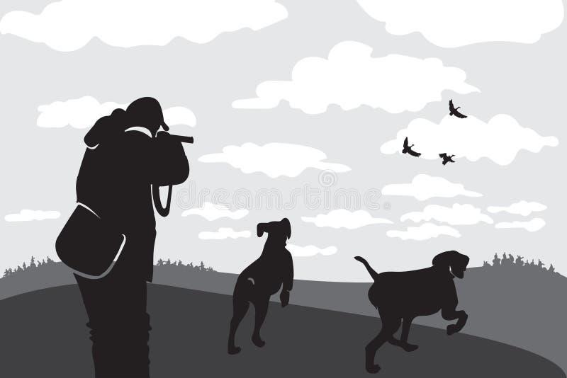 与枪和狗的猎人 r 对野兽的指使狗搜寻牺牲者 掩藏在高草的人 库存例证