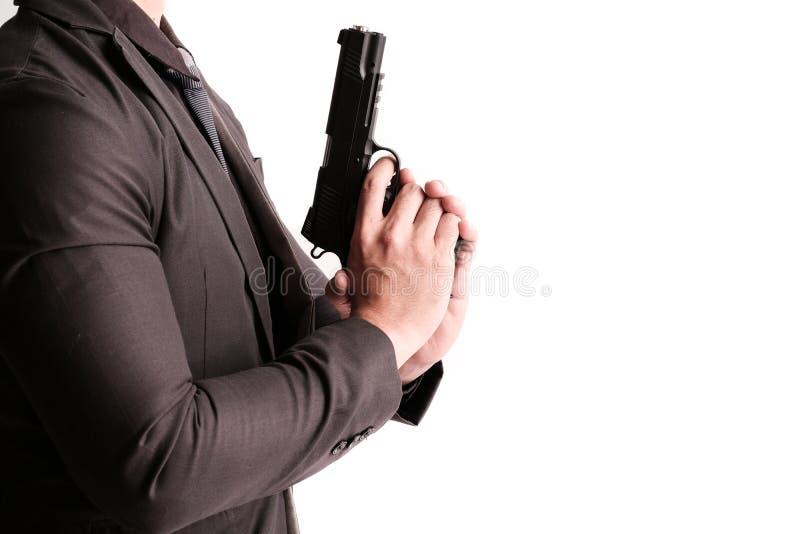 与枪的凶手 库存图片