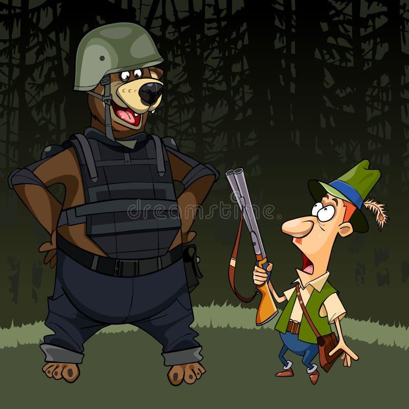 与枪的动画片猎人害怕在身体装甲的一头熊 库存例证