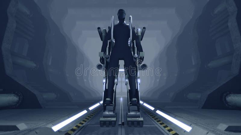 与枪的未来派机械生火 库存照片