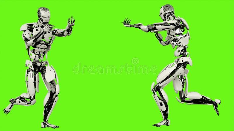 与枪的机器人机器人赛跑 在绿色屏幕上的现实行动 3d翻译 库存例证