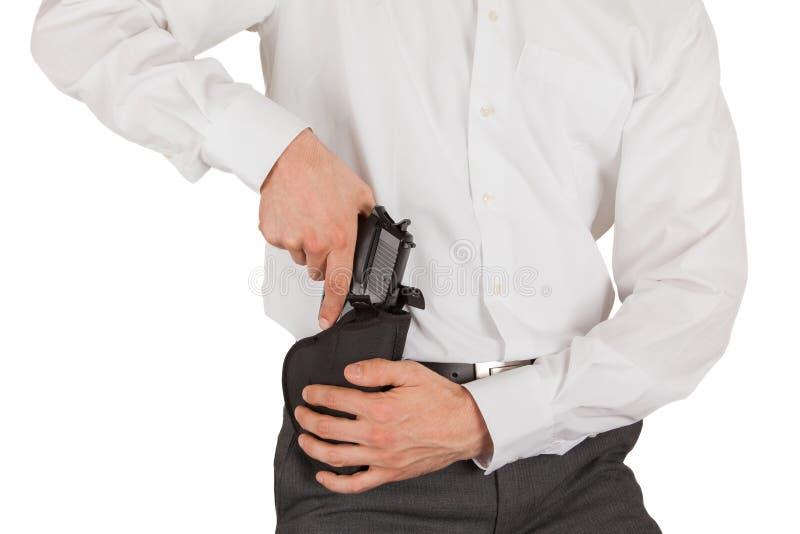 与枪的特勤局特工 免版税图库摄影