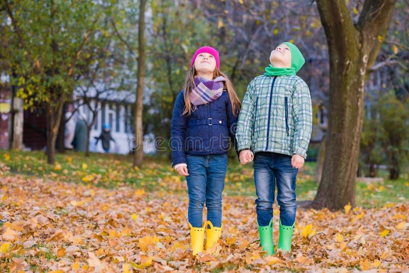 与枫叶的两儿童游戏在公园 免版税库存图片
