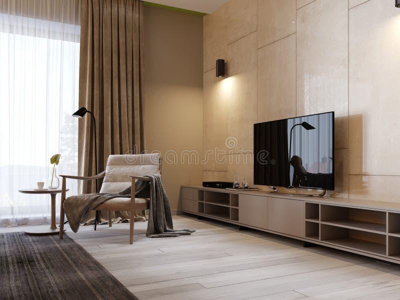 与架子的现代电视立场和电视在光滑的panenley米黄颜色墙壁上  有扶手椅子和电视立场的卧室 向量例证