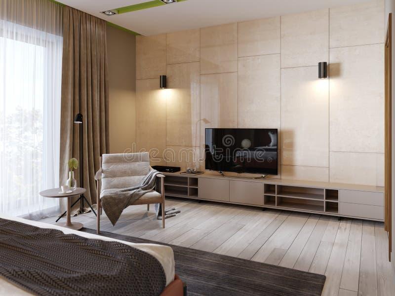 与架子的现代电视立场和电视在光滑的panenley米黄颜色墙壁上  有扶手椅子和电视立场的卧室 皇族释放例证