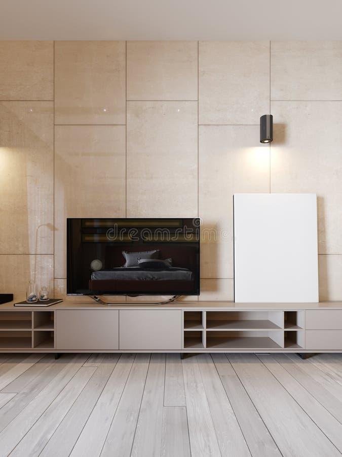 与架子的现代电视立场和电视在光滑的panenley米黄颜色墙壁上  有扶手椅子和电视立场的卧室 库存例证