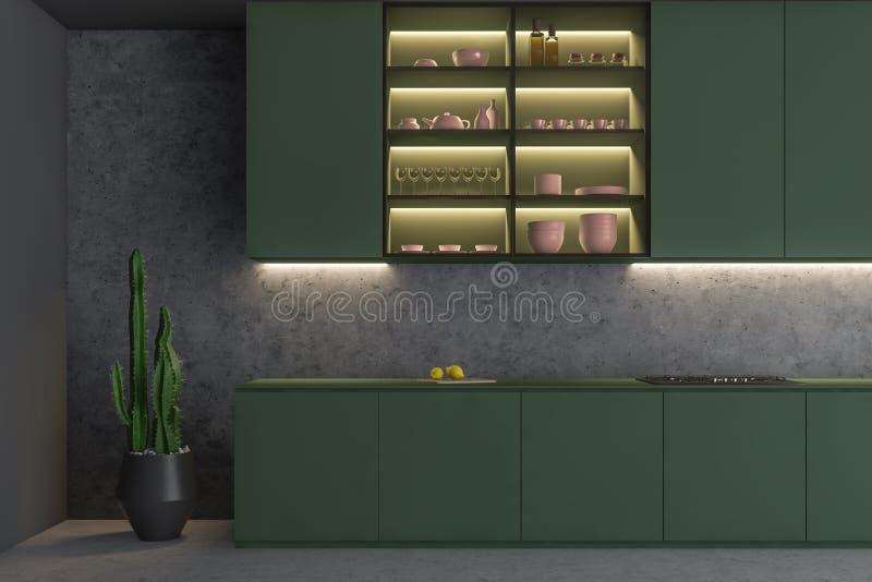 与架子的绿色和具体厨房内部 皇族释放例证
