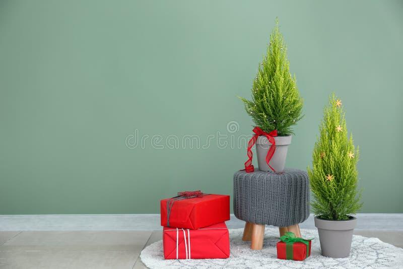 与柏树、圣诞礼物和装饰的构成在颜色墙壁附近 免版税库存图片