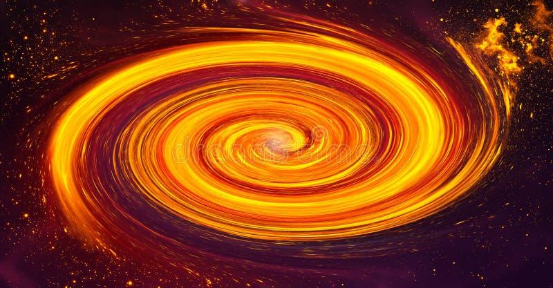 与某处星和星云的旋涡星云在外层空间- fa 向量例证