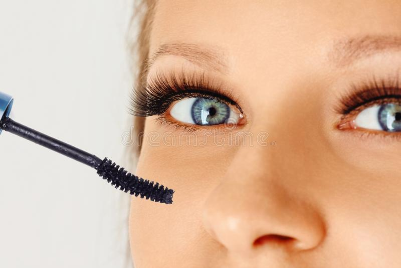 与染睫毛油长的睫毛和刷子的女性眼睛  构成和化妆用品概念 库存照片