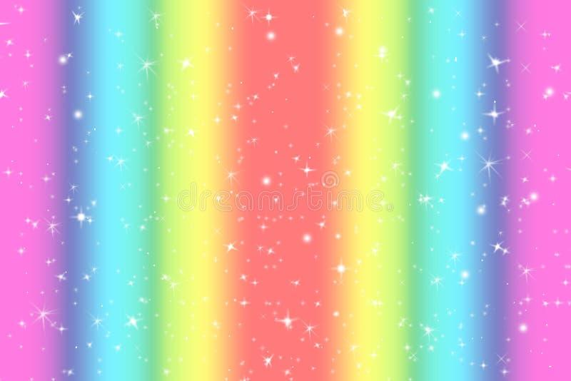 与柔光星的彩虹颜色抽象背景提出了梦想概念背景在甜内容的 彩虹颜色 向量例证