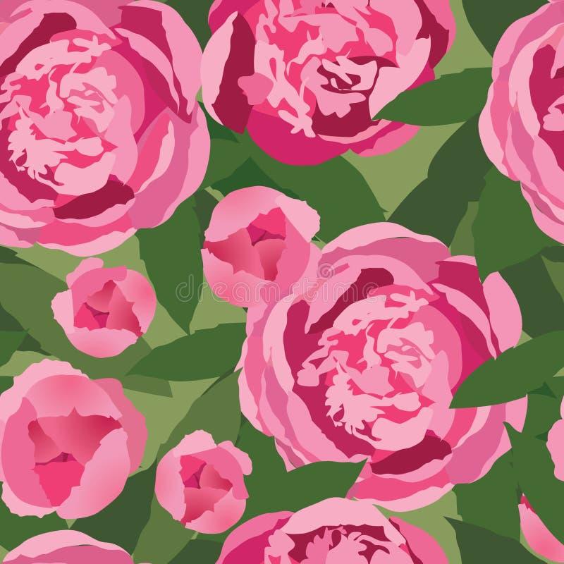 与柔和的桃红色花的无缝的纹理 向量例证