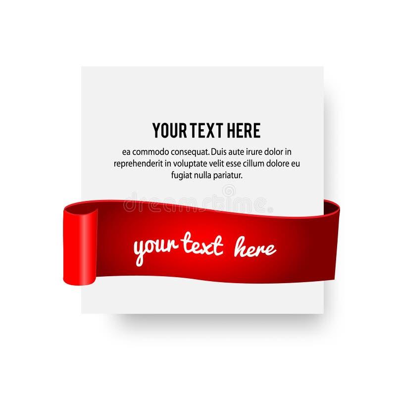 与柔滑的丝带,红色纸卷的现实纸横幅 导航例证,广告的设计模板,问候 皇族释放例证