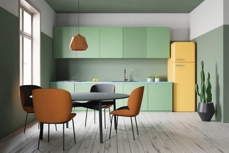 与柜台和桌的绿色厨房内部 皇族释放例证